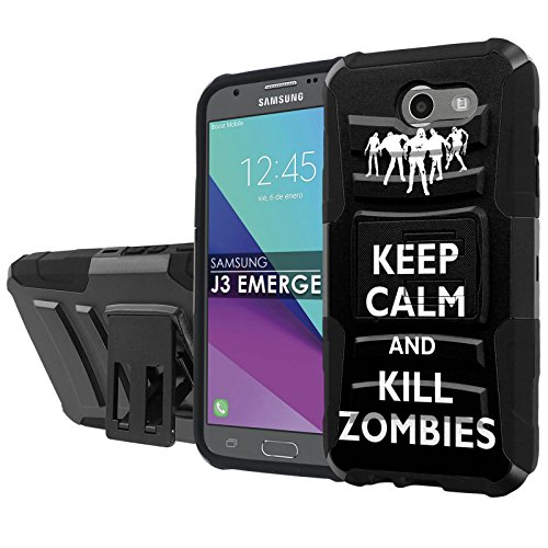 [NakedShield] [Black/Black] Total Defense Armor Case [Kickstand] [Holster] - [Keep Calm and Kill Zombies] Compatible for Samsung Galaxy [2017] [J3 Emerge] [5' Screen]