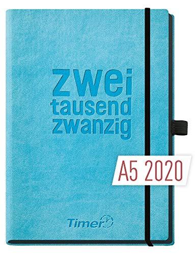 Chäff-Timer Deluxe A5 Kalender 2020 Terminplaner [Blau] Terminkalender, Wochenplaner   Organizer - Wochenkalender mit Gummiband, Stifthalter und Einstecktasche - luxuriös planen!