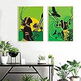 ganlanshu Cuadro En Lienzo Carteles y Fotos de la Muchacha del Sol Africano decoración de la Pared para el Arte de la Sala de estar60x80cmx2Pintura sin Marco