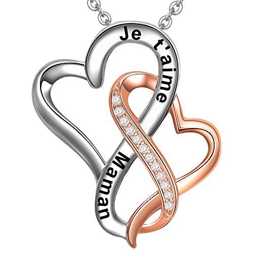 LOVORDS Collier Femme Gravé en Argent 925 1000 Pendentif Double Cœurs Entrelacés Cadeau pour Mère Maman