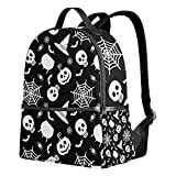 Mochila de Halloween con diseño de calabaza, color negro, para mujeres, adolescentes, niñas, bolso de moda, para viajes, colegio, informal, para niños