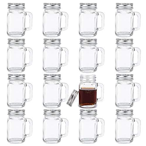 Kingrol 16 Pack 2 oz Mini Mason Jar Shot Glasses with Lids, Glass Favor Jars for Drink, Dessert, Candle, Craft