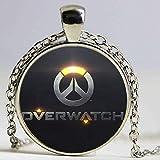 Overwatch - Colgante para mujer, diseño retro con logo de OW, collar de encaje