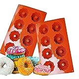 NALCY Silicona para Donut 2 pcs Molde para Donut de Silicona con 8 Agujeros Antiadherente Molde para Pasteles/Galletas/Bagels/Magdalenas (Rojo Ladrillo)