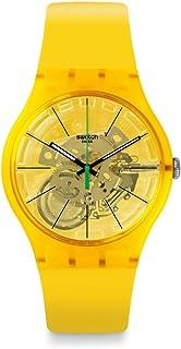 New Gent Lacquered Swiss Quartz Silicone Strap, Yellow, 20 Casual Watch (Model: SUOJ108)