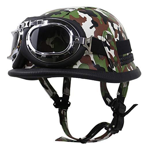 YZCM Motorcycle Half Face Helmet for Men Women, DOT Approved Leather Half Shell Motorbike Cruiser Helmet with Goggles, Retro Moped Helmet, Vintage German Style Helmet,Green camo,M