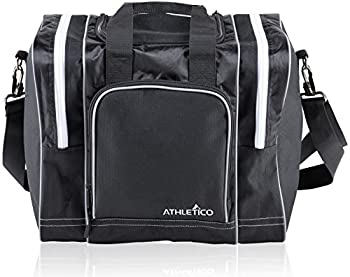 Athletico Bowling Bag for Single Ball - Single Ball Tote Bag with Padded Ball Holder - Fits a Single Pair of Bowling Shoes Up to Mens Size 14  Black