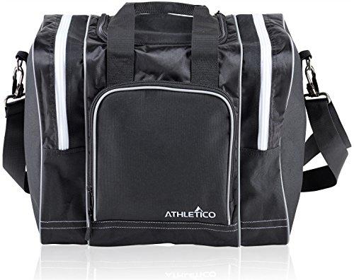 Athletico Bowlingtasche für einen einzelnen Ball – Tragetasche mit gepolstertem Ballhalter – passend für ein Paar Bowlingschuhe bis zu Herrengröße 42 (schwarz)