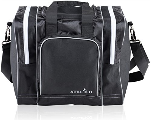 Athletico Bowling Bag for Single Ball - Single Ball Tote Bag with Padded Ball Holder - Fits a Single Pair of Bowling Shoes Up to Mens Size 14 (Black)