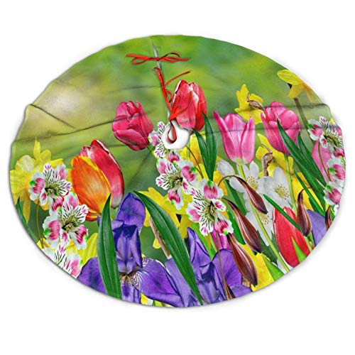 Spring Summer Flowers Daffodils and Tulips Christmas Tree Skirt, 30' Xmas Tree Skirt for Christmas Decorations Indoor Outdoor