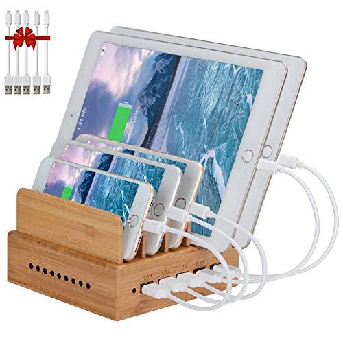 Yisen Ladestation USB Ladegerät mehrfach Ladestation für mehrere Geräte Smartphone Ladegerät für iPhone/iPad/Phones/Tablets/(mit 5 USB LadeKabel)