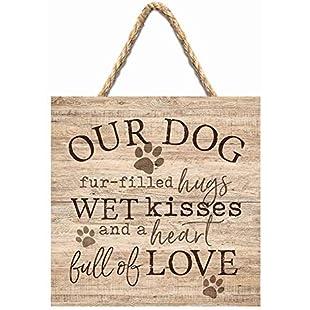 Customer reviews qidushop Our Dog Wet Kisses Love Natural Wooden Sign Crafts for Living Room Decorative Home Craft Sign for Women Men Housewarming Gift:Porcelanatoliquido3d