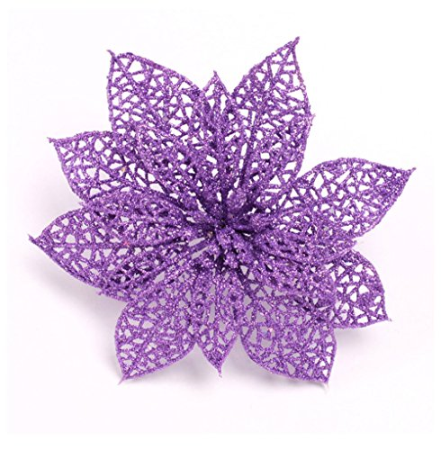 Venkaite 10 Pcs Artificiale Fiori Di Natale Albero Di Natale Ornamenti Fiori Di Abbellimento Per Casa Festa Di Natale Decorazioni, Viola