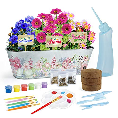 Garden Flower Growing Kit for Girls and Boys Ages 5 6 7 8 9 10-Grow Zinnia/Cosmos/Cornflower Flowers: Includes Everything Needed to Grow Your Own Garden–Best Gardening Science Gifts for Kids