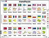 Larsen GP6 MemoPuzzle: Banderas y Capitales de 27 Países, edición en Inglés, Puzzle de Marco con 54 Piezas