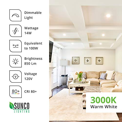 Sunco Lighting 6 Pack 6 Inch Slim LED Downlight with Junction Box, 14W=100W, 850 LM, Dimmable, 5000K Daylight, Recessed Jbox Fixture, Simple Retrofit Installation - ETL & Energy Star