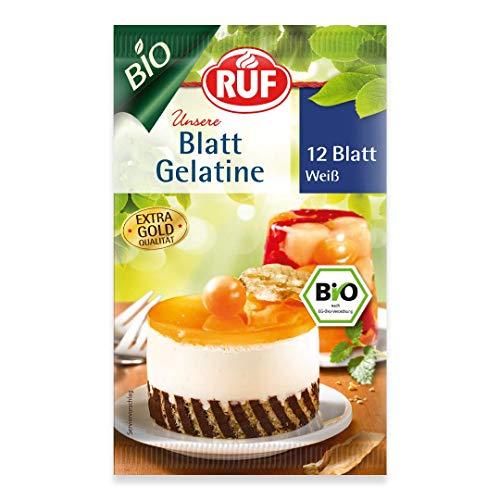 RUF Bio Blatt Gelatine klar extra gold Qualität, 12 Blatt