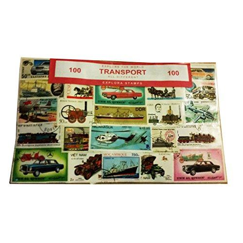 Set di 100 Francobolli Trasporti - Tutti Diversi/Da Tutto Il Mondo/Aerei/Navi/Ferrovie/Automobili/Imbarcazioni/Treni/Autocarri/Souvenir da Collezionare