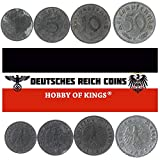 Hobby of Kings Set MIT 4 MÜNZEN AUS DRITTEM REICH. 1, 5, 10, 50 REICHSPFENNIG. 1939-1945