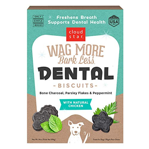 Cloud Star Wag More Bark Less Dental Biscuits to Freshen Breath with Chicken, Bone Charcoal, Parsley & Peppermint 14 oz.
