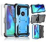 Moto G Power Case, Takfox Phone Case for Motorala Moto G Power/G Stylus with 2 Screen Protectors Belt Clip Holster Protective Heavy Duty Shockproof [Full-Body Protection] Kickstand Rugged Cover-Blue