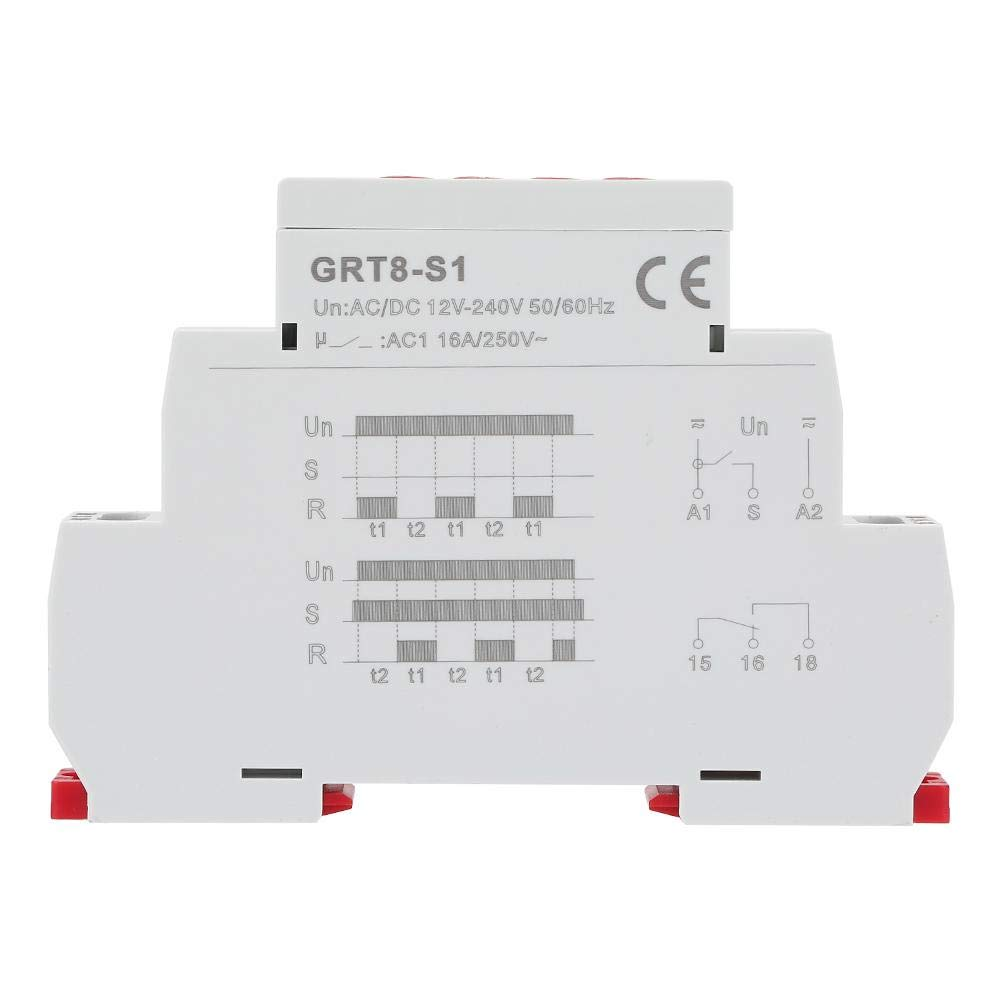 GRT8-S2 12-240V Mini Asymmetric Cycle Timer ON//OFF Repeat Cycle Time Relay HighQ