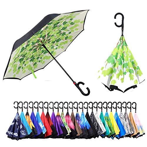 Sumeber Regenschirm Double Layer Inverted Automatikschirm, C-Form Griff Reverse Taschenschirm, Anti-UV-Windschutz-Regenschirm mit Tragetasche (Green Leaf)