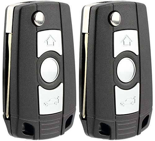 KeylessOption Keyless Entry Remote Control Car Ignition Flip Key Fob for BMW LX8 FZV LX8FZV (Pack of 2)