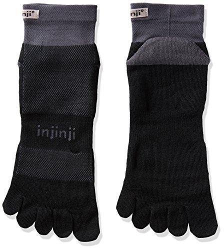 Injinji - 2.0 Run Midweight Mini Crew - Chaussettes - Mixte - Noir (Black/Gray) - Taille: L