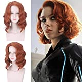 Parrucca da donna parrucca Halloween Capitan America Black Widow Scarlett Johansson parrucca di capelli ondulati arancione gioco di ruolo capelli sintetici silicati Taglia unica arancione