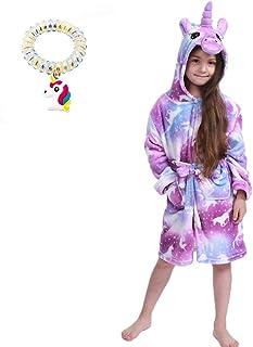 Kids - Albornoz/bata con diseño de unicornio para niñas, en felpa suave, con capucha