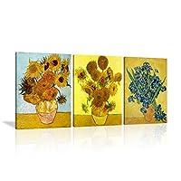 VIIEVI アートフレーム 油絵 北欧風 レトロなスタイル ゴッホ 現代シンプルなスタイル ひまわり フラワーズ レストラン キャンバスアート ホームインテリア 壁掛け ソファの背景絵画 HD 写真 3パネルセット(木枠付きの完成品)(30x40x3,ゴッホのひまわり)