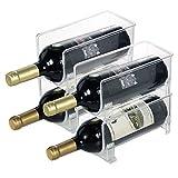 4 Satz Weinflaschenregal, Vertikal stapelbare Wein Storage Rack Transparent...