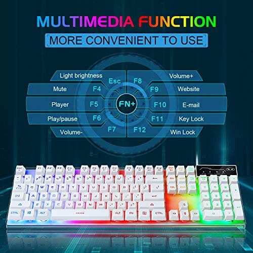 Gaming Keyboard and Mouse Combo, K1 LED Rainbow Backlit Keyboard with 104 Key Computer PC Gaming Keyboard for PC/Laptop(White)
