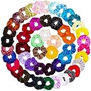 KECUCO 60 Pcs Hair Scrunchies Velvet Elastic Hair Bands Scrunchy Hair Ties Ropes 60 Pack Scrunchies for Women or Girls Hair Accessories - 60 Assorted Colors Scrunchies (60 Colors)
