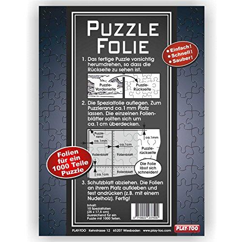 Play-Too Puzzlefolie 10 Blatt - Einfach! Schnell! Sauber! hält Superfest! Optimal für 1 x 1000 Teile oder 2 x 500 Teile Puzzle