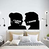 Couple Wall Decal - Funny Princess Leia and Han Solo Inspired'I Love You'/'I Know' Vinyl Saying with Man and Woman Silhouettes - Humorous Anniversary Gift