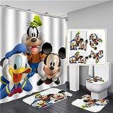 xingy&eshoop Duschvorhang-Donald Duck Mickey Mouse Verdickt Wasserdichtes Und Schimmelresistentes Badezimmer, Hotel Polyester Stoff-Vierteiliges Badezimmer 200X180Cm