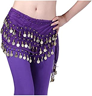 VISKEY Fashion Chiffon Belly Dance Waist Chain with Golden Coins in 3-Layers,...