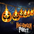 Halloween String Lights, 20 Orange LED Pumpkin Lights 11.5 ft 3 AA Batteries Powered Suitable for Indoor and Outdoor Halloween Party Decoration Lights(IP65 Waterproof, Lighting Modes Steady/Flashing )