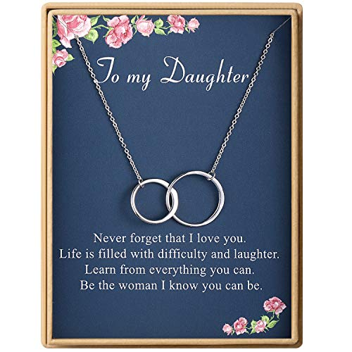Birthday Gifts for Daughter Two Interlocking Infinity Double Circles Sterling Silver Necklace for Women
