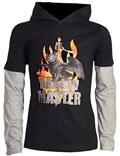 Dreamworks Dragons Kinder Double Kapuzen-Sweatshirt / Hoodie Ohnezahn Toothless & Hicks, schwarz (128-134)