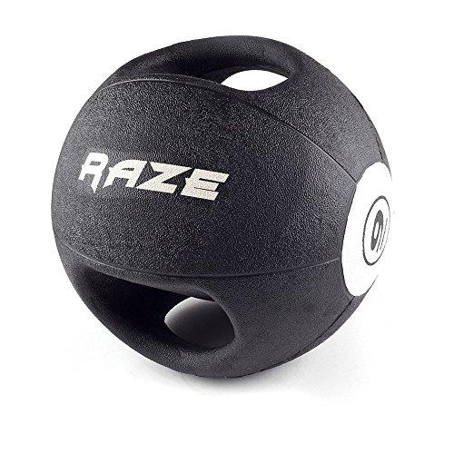 Raze Dual Grip Balón Medicinal, Unisex Adulto, Negro, 5 kg