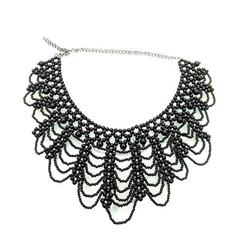 Vpang Abnehmbare Bluse Falscher Kragen Elegant Perlen Perlen Falsche Halsband Choker Peter Pan Halskette -  Schwarz -  Groß