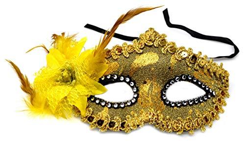 VENTURA TRADING Oro Amarillo Máscara de la Mascarada Mascarilla Veneciana Decoración de Plumas Mujer Mascarada Disfraz Fiesta Pelota Paseo