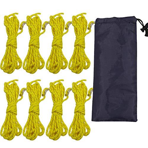 テントペグ18cm10本 アルミニウ Y型 タープ自在ガイロープ4�o4本 4m ナイロン 4個自在金具 反射 軽量 調整 ハイキング/キャンプ/設営用 アウトドア 収納袋付き 18本セット (8本ロープ)