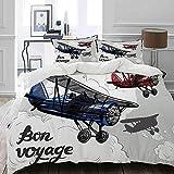 HUAYEXI Funda de edredón,Cartel Retro Avión Inspirado Bon Voyage Permite Viajar Volar Vintage,edredón para Cama Funda edredón 140x200cm