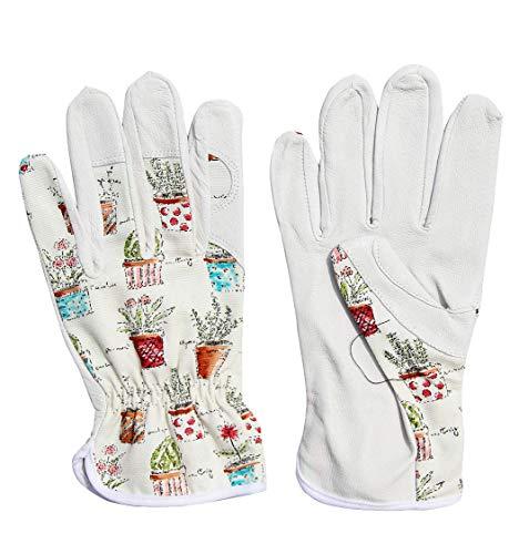 Worth Garden 1 Paar Leder Handschuhe Garten- und Arbeitshandschuhe Unisex für Damen und Herrn mit Pflanzen