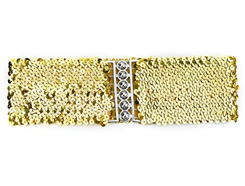 uxcell Ladies Sequins Decor Metal Interlocking Buckles Elastic Waist Belt Gold Waist: below 33 inches
