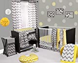 Bacati Ikat Yellow/Grey 6 Crib Set with 4 Muslin Blankets
